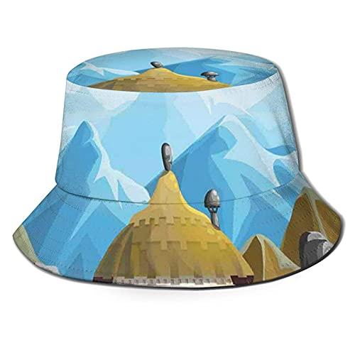 Cappello da Pescatore all'aperto Protezione Solare dai Raggi UV Cappello da Pesca Casual Capanna Tribale in Stile sudafricano Case ai margini di Alte Montagne e Grandi Rocce Protezione Solare