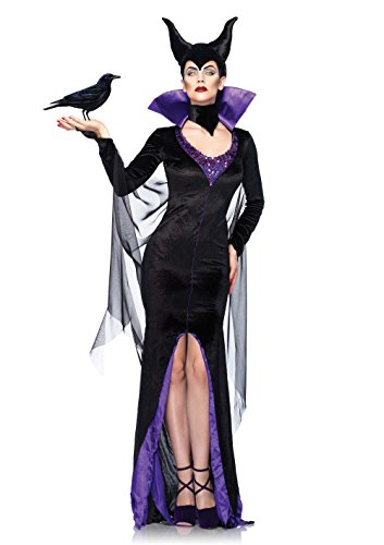 Leg Avenue Costumes Disney Maleficent Dress with Stand-Up Collar and Head Piece