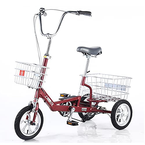 Triciclo per Adulti 3 Ruote Bike Tricycle Adult Tricycle Seniors Shopping Cargo Trike 12 Pollici Telaio in Lega di Alluminio per Adulti Donne Uomo Seniri Alimenti Acquisto(Color:Rosso)