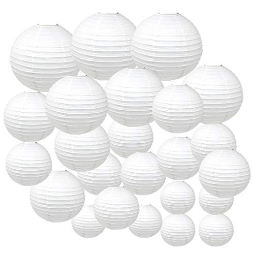 Just Artifacts Decorative Round Chinese Paper Lanterns 24pcs Assorted Sizes (Color: White)