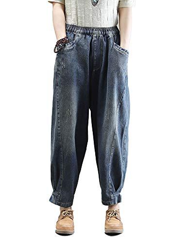HALITOSS Women's Casual Denim Loose Wide Leg Harem Pants Elastic Waist Trouser with Pockets Darkblue