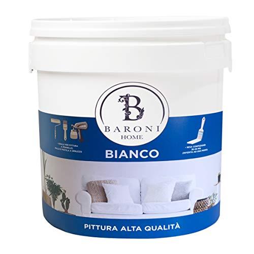Pittura Bianca per pareti interne Opaca ad Alta Copertura di Elevata Qualità specifica da Muro. Barattolo di vernice da interni da 4 Litri. (BIANCO)