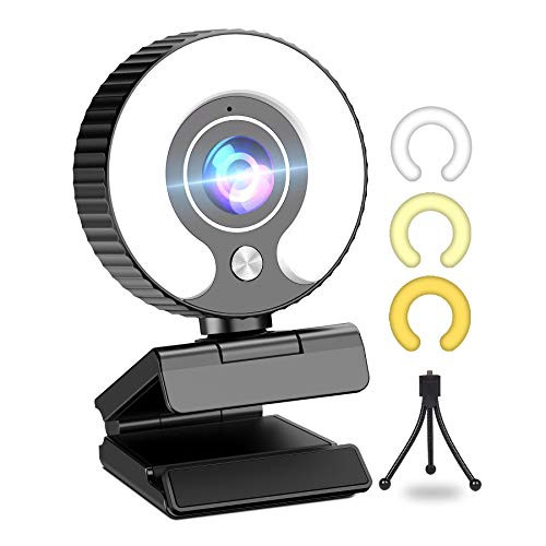Streaming Webcam with Ring Light HD 1080P Web Camera with Microphone for PS4, Laptop, Desktop, Mac Mini, MacBook Pro/air, PC, Monitor, USB Face Cam for Gaming, Streaming, Twitch, Xbox One, YouTube