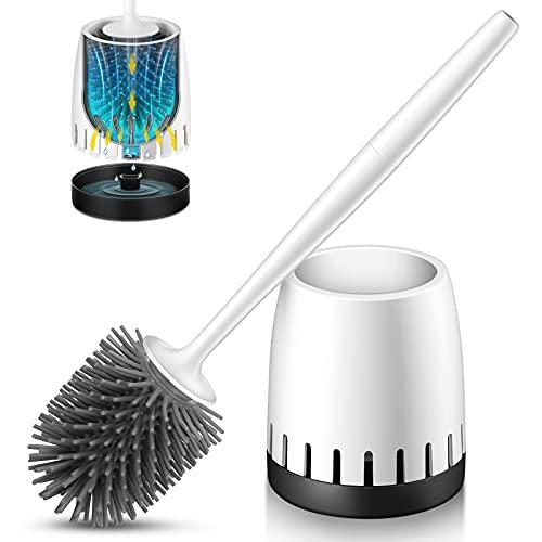 Homemaxs Klobürste Silikon, WC Bürste und Halter mit einzigartigem Lüftungsschlitzdesign und Drückenverlängertem Griff, Premium Silikon Toilettenbürste mit Schnell Trocknender Halterung für Badezimmer