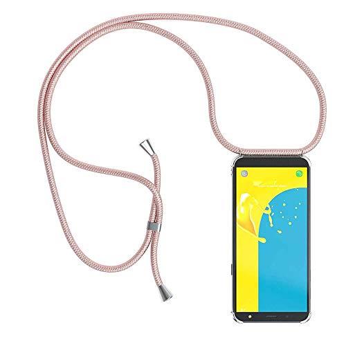 YuhooTech Funda con Cuerda para Samsung Galaxy J5 2016, [Moda y Practico] [ Anti-Choque] [Anti-rasguños] Suave Silicona Transparente TPU Carcasa de movil con Colgante/Cadena, Oro Rosa