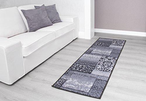 Kurzflorteppich Teppichläufer Orientteppich Vintage Patchwork Orientalisches Muster Used Look– Wohnzimmerteppich Schlafzimmer Flurläufer – Oeko Tex 100 pflegeleicht umkettelt – 57cm x 110cm grau