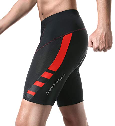 Santic Cycling Men's Shorts Black 4D Padded Bicycle Bike Shorts Padded Cycling Shorts US L/CN XXL