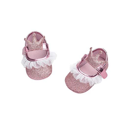 DEBAIJIA Baby Mädchen Prinzessin Schuhe Kleinkind Schöne Krone Spitze Weiche Sohle rutschfeste Kunstleder Geeignet für 6-18 Monate Klettverschluss Rosa 20 EU (Etikettengröße 3)