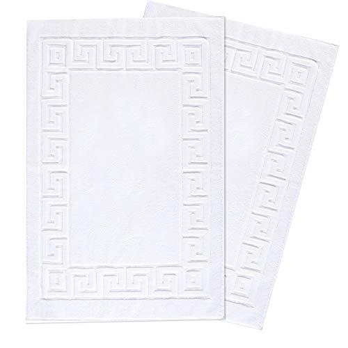 Towelogy, tappetini da bagno in 100% cotone, 850 g/m², colore bianco, motivo chiave greca, lavabile in lavatrice, 50 x 75 cm (chiave greca bianca, confezione da 2)