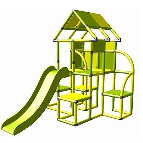 move and stic Lina großer Spielturm / Spielhaus Kletterturm mit Rutsche für Kleinkinder (gelb apfelgrün)