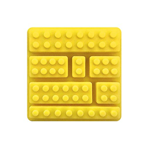 Xuyichangzhishi 2/4 Piezas de Molde Rectangular de Silicona de Chocolate DIY con 7 Agujeros Lego Forma de Bloque Bandeja de Cubitos de Hielo Herramienta de Pastel Fondant Molde-Amarillo, 4