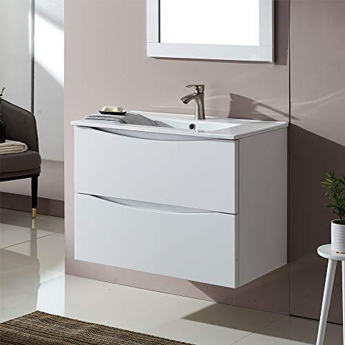 Lutriva Moderner Weiß Holzmaserung Waschtisch Unterschrank, Waschbecken mit Unterschrank Hängend mit 2 Schubladen Badmöbel