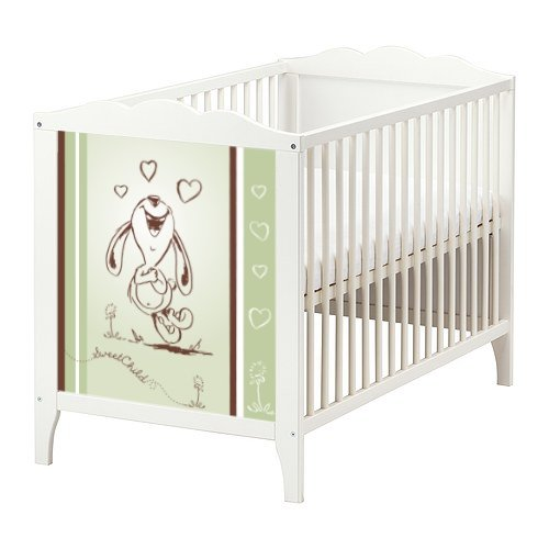 STIKKIPIX Happy Rabbit Möbelsticker/Aufkleber in grün für das Babybett Hensvik von IKEA - BB04 - Möbel Nicht Inklusive
