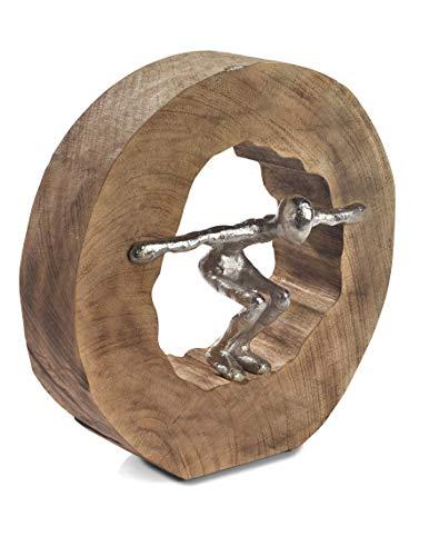 Moritz Skulptur Wage den Sprung Mangoholz/Alu Massive Mangoholz - Baumscheibe Handarbeit 28 x 27,5 cm