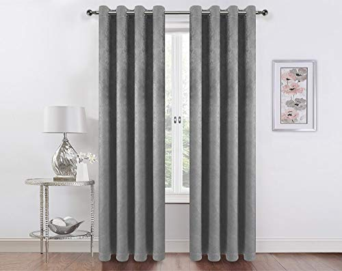 Home Basics Boston Blackout Collection 54x84 Window Curtains | Single Panel | Made of 100% Polyester | Embossed Blackout | Blocks 98% of Light (Silver)
