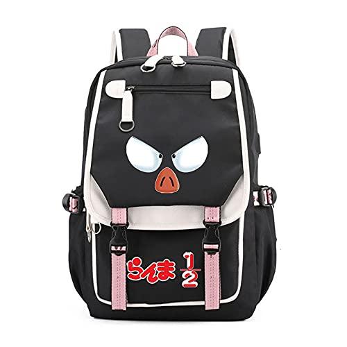 CXWLK Ranma Nibun-no-Ichi Unisex Rucksack Daypack Wasserdichter Schulrucksack Rucksack Damen Herren Daypack Mit Laptopfach Für Schule Black 46CMX31CMX19CM