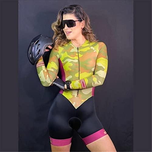 Triathlon Donne da donna in bicicletta Jersey a maniche lunghe Pro tuta skinsuit Set skinsuit set traspirante Gel 3D imbottito (Color : 5, Size : Large)
