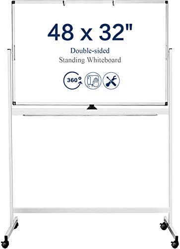 Mobile Rolling Whiteboard Double Sided, 48 x 32 inches Large Whiteboard Magnetic White Board, Reversible Dry Erase Board Easel Standing Board on Wheels