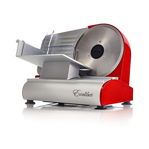 Excalibur Do It Yourself Electric Food and Meat Slicer Features Precision Thickness Control and Tilted Carriage for Fast and Efficient Slicing with Removable Blade for Easy Clean, 7.5-Inch, Gray