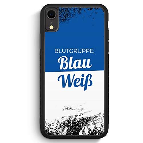 Blutgruppe Blau Weiß - Silikon Hülle für iPhone XR Cover - Motiv Design Sport Fußball Basketball Handball Volleyball Hockey Cool Spruch Zitat - Handyhülle Schutzhülle Case Schale