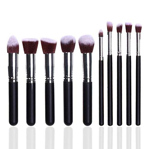 JXD Makeup Brush Set Kit Cosmetics Foundation Powder Blending Blush Lady Beauty Makeup Tools 10 Pcs,Black-Silver