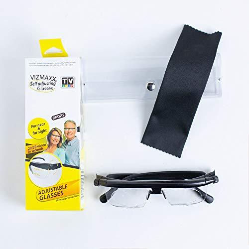 HUAYAO Dial Vision Adjustable Glasses, Adjustable Lens Focus Eyeglasses Proper Vision Focus Reading Glasses, Black, 3.94