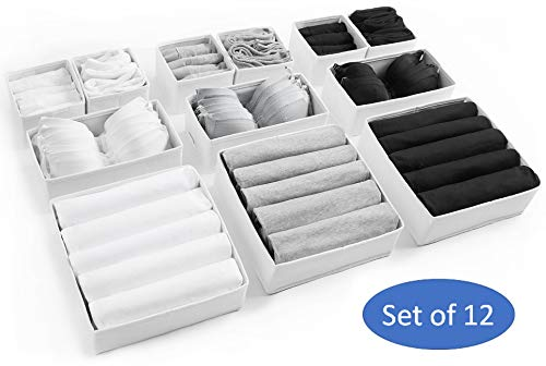 Large Drawer Organisers set of 12 White Drawer Dividers for Home Clothes Storage Underwear Organiser for Wardrobe Storage Organizer Closet Drawer Organiser Bedroom Divider Boxes Sock Bra Draw