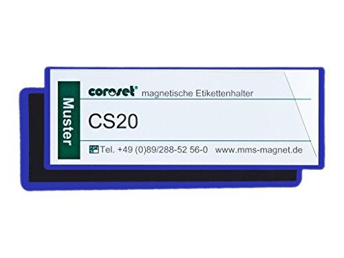 Magnetische Etikettenhalter / Etikettenträger / Etikettenhüllen / Einstecktaschen für Papieretiketten, blau (100 St., 120 x 40 mm)