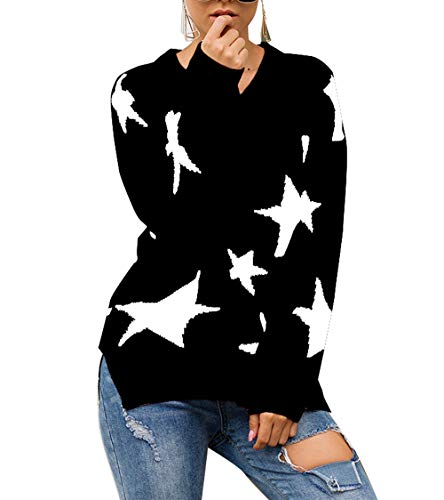 PRETTYGARDEN Women's Winter V Neck Lantern Long Sleeve Star Color-Block Split Knit Sweater Pullover Tops Black