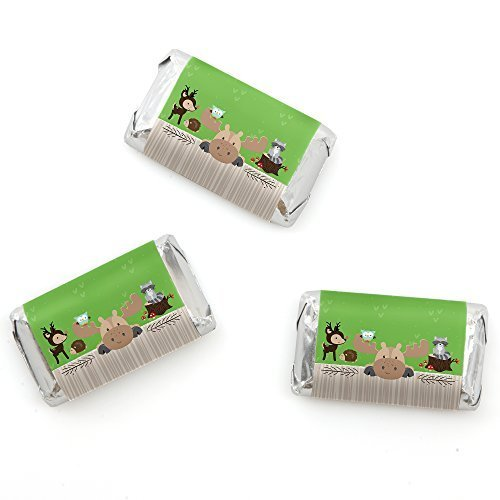 Big Dot of Happiness Woodland Creatures - Mini Candy Bar Wrappers Baby Shower or Birthday Party Favors - 20 Count