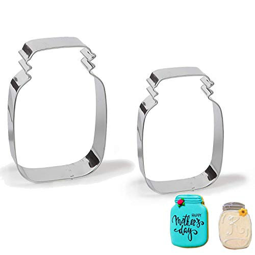 Antallcky Mason Jar Cookie Cutter Set of 2 Pack-4.7 Inch&3.6 Inch Stainless Steel Marson Jar Shaped Biscuit Molds Fondant Cookie Cutter Set Pastry Mold-1 Inch Depth