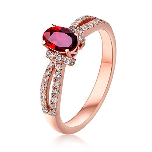 AueDsa Ring Red Rose Gold Womens 18K Rose Gold Ring Diamond Ring with Ruby 0.57ct Ring Size N 1/2
