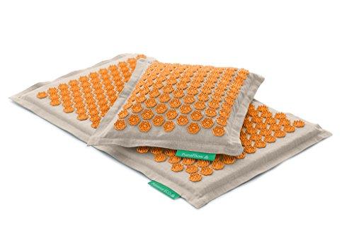 Set - 2 unidades: Pranamat ECO + PranaPillow, La esterilla y la almohada de masaje terapéutico (Natural / Naranja)