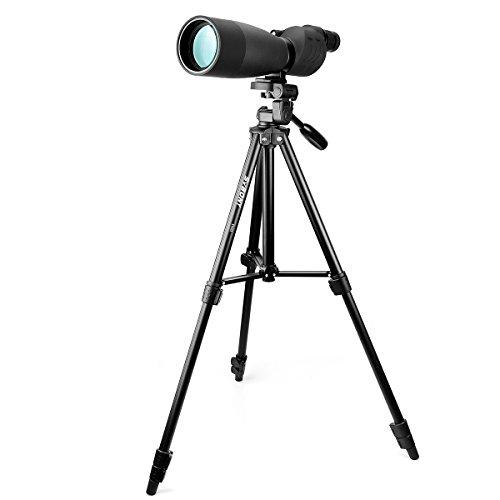 Svbony SV17 Spektiv, 25-75x70 Gerades Spektiv mit Stativ, Bak4 Prism FMC Spektiv für Zielschießen Bogenschießen, Jagen, Vogelbeobachtung, Mond (Schwarz)