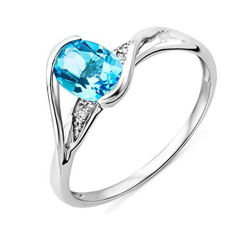 Miore Ring Damen Weißgold 9 Karat / 375 Gold Blauer Topas mit Diamant Brillianten