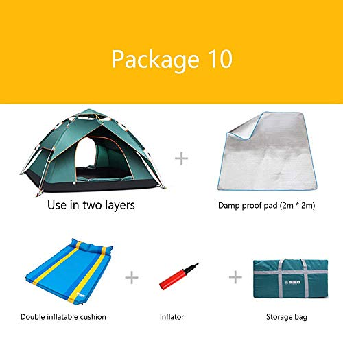 LLSS Package Camping Tents Inflatable Mattress Inflatable Pump Barbecue Pad Insulation Pads Thick Rain 3-4 People Camping Outdoor Mountaineering Expeditions Beach Tent,09