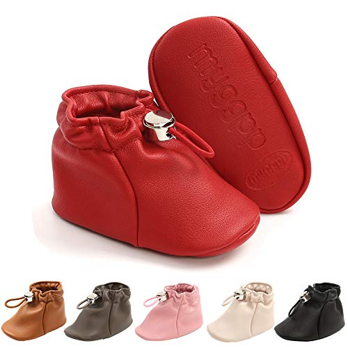 Isbasic Infant Baby Premium Buttons Snow Boots Anti-Skid Rubber Sole for Toddler Boys Girls Winter Warm Crib Shoes (red, 6_Months)