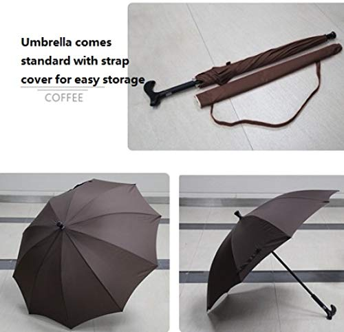 inch Multifunctionele Ouderen anti-slip kruis paraplu kan worden gebruikt in zowel regen en regen, outdoor zonnescherm en vrije tijd paraplu dubbele rib heeft betere windweerstand veelzijdig 8K Koffie