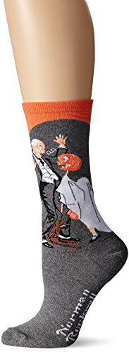 Hot Sox Women's Norman Rockwell Collection Crew Socks, Halloween (Coral), Shoe Size: 4-10