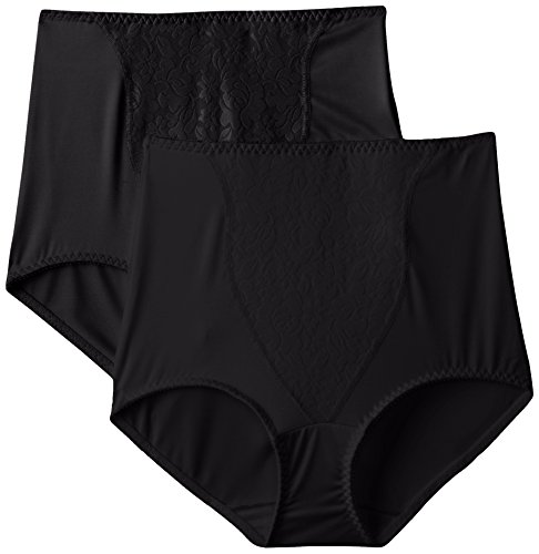 Bali Women's Shapewear Double Support Coordinate Brief with Lace Tummy Panel Light Control 2-Pack, Black, Large