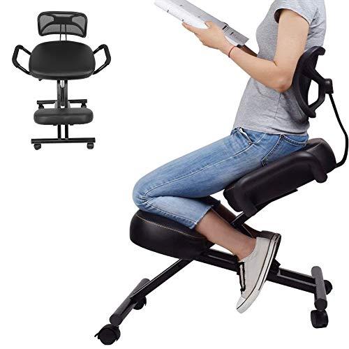 Ejoyous Sedia da Ufficio ergonomica,Ortopedica ergonomica Regolabile con Supporto per la Schiena e 4 Ruote per casa e Ufficio per Una Corretta Postura,Poltrona a Ginocchio Sedia da Ufficio