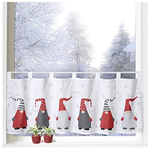 heimtexland ® Scheibengardine Weihnachten 45x120 Dekoration Fenster-Deko Weihnachts-Gardine Wichtel Rot Grau Typ651