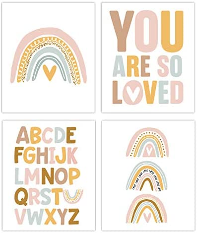 Designs by Maria Inc Rainbow Prints Set of 4 Unframed Nursery Decor Art 8x10 Pretty Pastel Colors product image