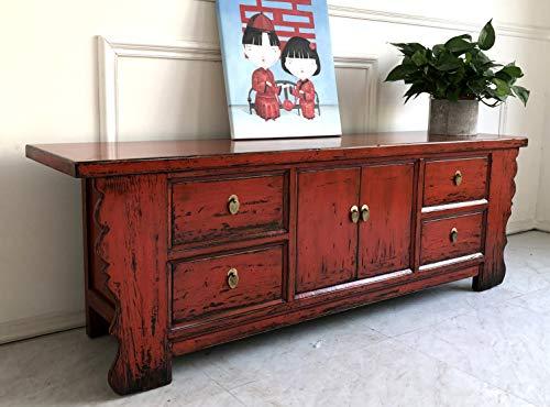Rote Vintage Kommode Lowboard Shabby-chic Sideboard aus Holz für Wohnzimmer, Flur, Schlafzimmer