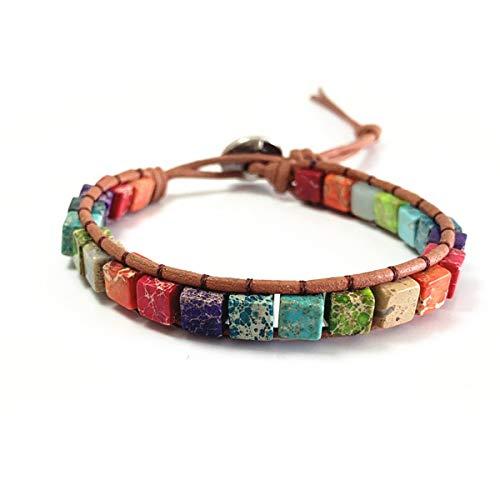 Starto 7 Chakra Yoga Bracelet Bohemian Handmade Leather Healing Protection Natural Stone Bead Bracelets