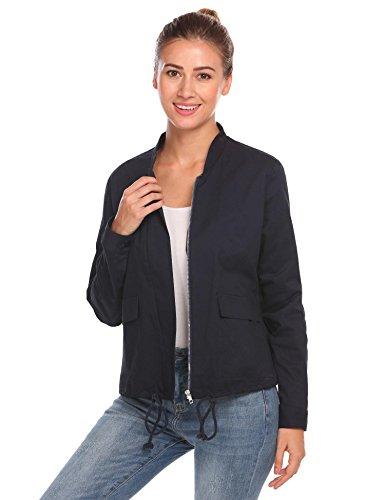Zeela, giacca sportiva da donna casual, corta, impermeabile, funzionale e sportiva, con tasche Blu XXL