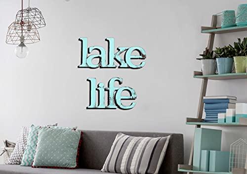 Letter2Word Wall Decor - Lake Life Original Word Wall Art, Bold Font, Aqua