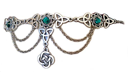 Moon Maiden Jewelry Celtic Triquetra Trinity Knot Draping Chain Headpiece Emerald Green