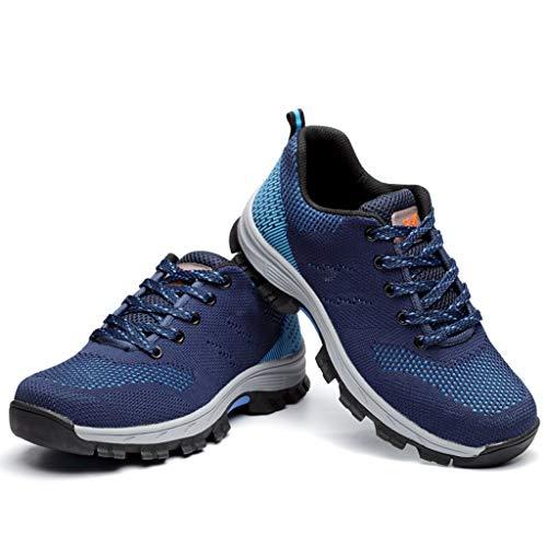 Zapatos Seguridad Protección Transpirable Verano, Zapatos De Trabajo Cómodos Cómodos Cómodos Cuatro Zapatos De Trabajo De Cuatro Temporadas Anti Aplastamiento Anti Resbalón Anti Resbalón,Azul,41