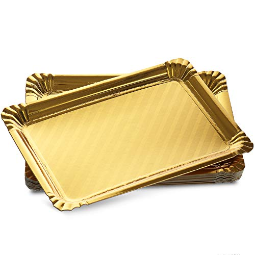 12 Pack Gold Serving Trays, Disposable Rectangle Cookie Tray Sturdy Paper Cardboard. Serving Platters for Dessert Food Safe, Non Toxic. Great for Birthday Party, Wedding, , 9 x 13
